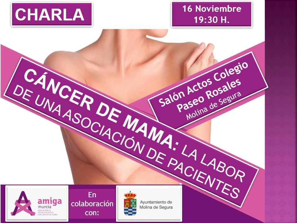 La Asociación AMIGA organiza una charla sobre el Cáncer de Mama